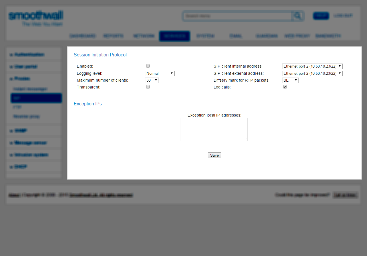 Smoothwall: SIP Proxy Service